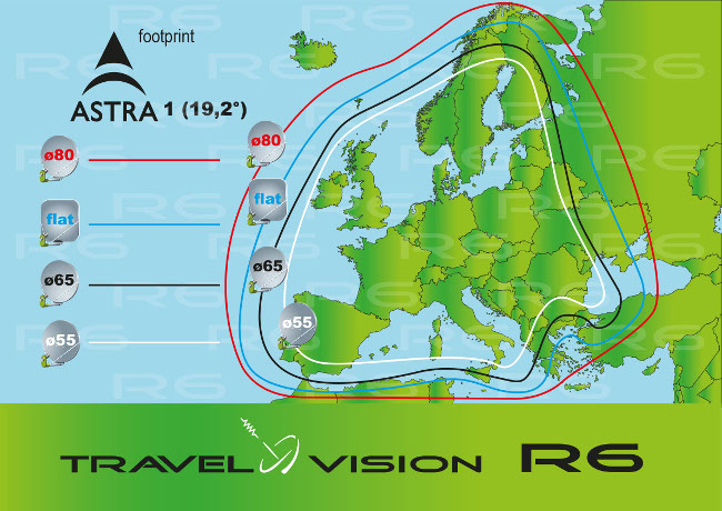 Footprint Astra 1 - Travel Vision R6 schotelantenne