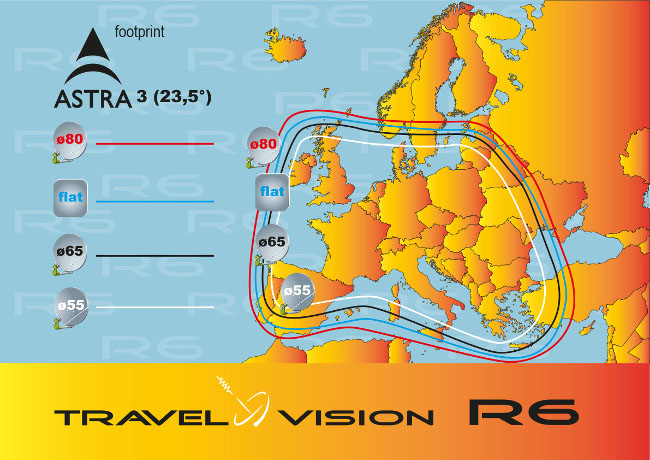 Footprint Astra 3 - Travel Vision R7 schotelantenne